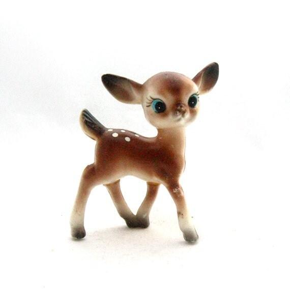 Cute Vintage Big Eyed Deer Figurine Plastic