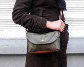 Small RECYCLED Dark Green and Orange Leather Purse with Vibrant 90s Textile Interior