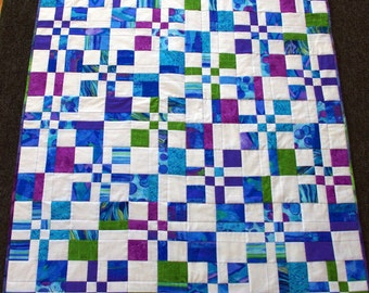 Quilted Jewel Colored Crib Quilt, Baby Quilt, Throw