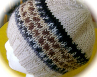 Lady's Hat, Hand Knit, Ecru with Multicolor Band, One Size Fits Most