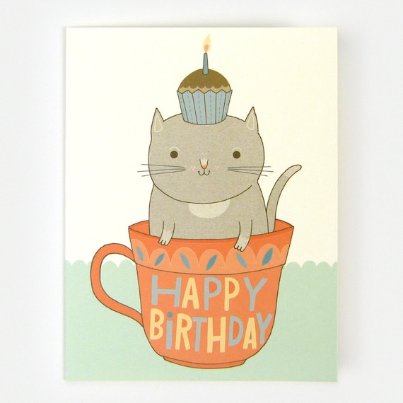 Teacup Cat Birthday - Greeting Card