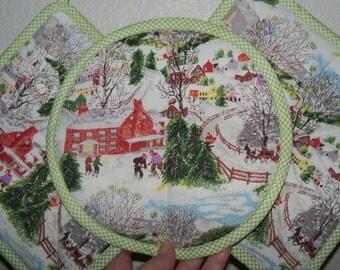 Grandma Moses Fabric Barkcloth Fabric Insul-brite  Hot Pad Pot Holder  Kitchen Set  sewbuzyb