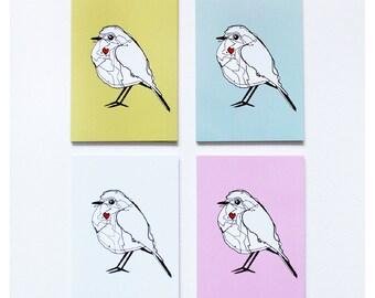 Bird Postcards (Set of 4) Bird Art