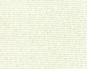 Daysail - By Bonnie And Camille - For Moda - Tiny Script - White Green - 1 Yard - 9.95 Dollars