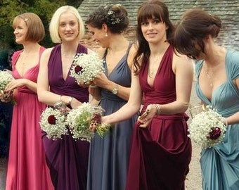 Locally Sewn Mismatched Convertible Infinity Dresses all colors custom size and length slate rose blush gold champagne marsala plum rosegold
