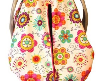 Unique Fitted Carseat canopy Patterned Petals with fuchsia Dimple Dot Minky.