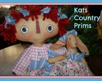 Primitive Raggedy Ann Style instant download ePATTERN #165 Somebunny to Love Hafair Faap