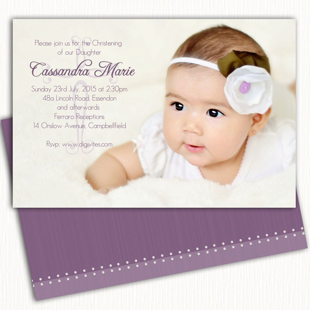 Girl photo Christening Invitation/Baptism Invitation/Naming