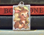 Brown Bunny Rabbit Charm - Soldered Glass Pendant made w/ Vintage Book Page - Jumping Rabbit Pendant - Bunny Charm Pendant - Rabbit Necklace