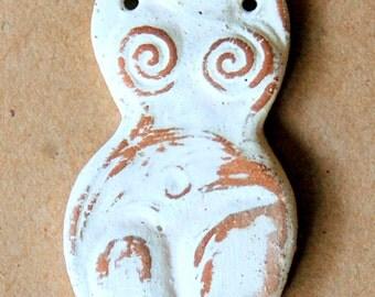 Handmade Stoneware Goddess bead - Venus of Willendorf bead in Neutral - Blessingway Gift