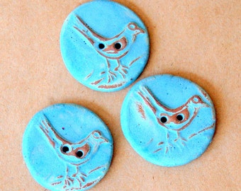 3 Big and Bold Handmade Ceramic Bird Buttons - Sweet Spring Tweets in Sky Blue glaze over Brown Clay