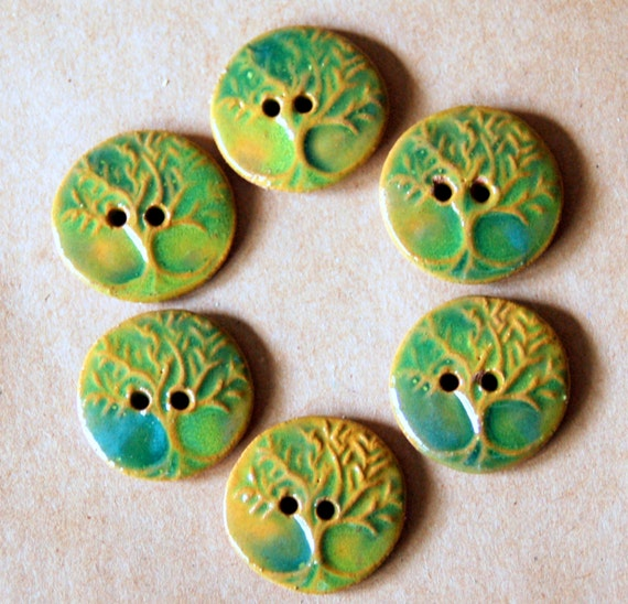 6 Handmade Stoneware Buttons - Tree of Life Buttons - Small Size