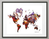 Fine Art Print World Atlas Geographic Map Landscape World Continents Abstract Modern Giclee Posters and Prints Elena