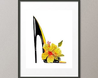 Fine Art Print Hibiscus Flower Shoes Stiletto Pumps Footwear Fashion Colorful Watercolor Painting Abstract Modern Contemporary Elena