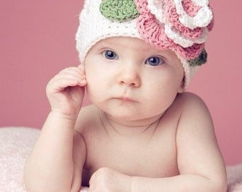 Crocheted Beanie The Christine White, Pink, Green, Open Weave Beanie Flower Infant, Newborn Sizes