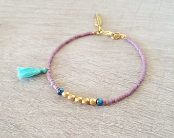 Colorful Tassel Bracelet // Gold, Purple & Green // Multicolor Summer Boho Bracelet