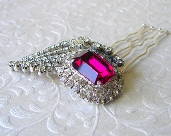 SAMPLE SALE Ruby Red Rhinestone Hair Comb Jeweled Wedding Hairpiece Bridal Headpiece Vintage Jewelry Chic Valentines Bride Prom Accessory