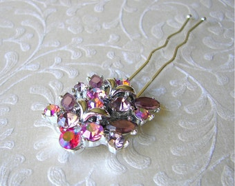 Lilac Pink Rhinestone Hair Comb Pageant Hairpiece Ballroom Jeweled Headpiece Bohemian Brides Prom Formal Wedding Upcycled Vintage Jewelry