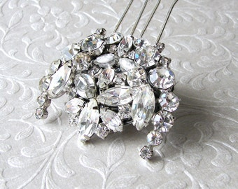 Rhinestone Bridal Hair Comb Vintage Jewelry Bridal Headpiece Formal Jeweled Wedding Hairpiece Downton Abbey Great Gatsby Bohemian Chic Bride