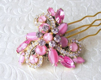 Rhinestone Hair Comb Pink Yarrow Vintage Jewelry Headpiece Jeweled Wedding Hairpiece Ballroom Costume Pageant Accessory Downton Gatsby Bride