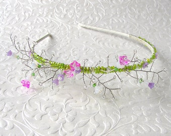 Floral Bridal Hairpiece Spring Wedding Glass Flower Garden Headband w/ Swarovski® Crystal Beaded Diadem Boho Chic Bride Pink Purple Green