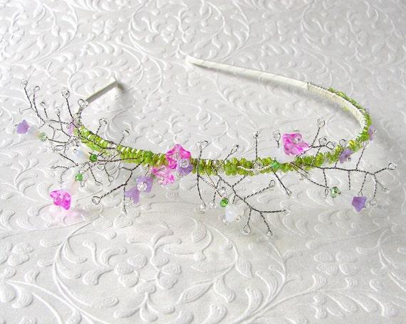 Floral Bridal Hairpiece Spring Wedding Glass Flower Garden Headband w/ Swarovski® Crystal Beaded Diadem Boho Chic Bride Pink Purple Green