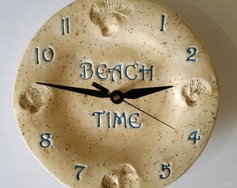 Beach Time Clock Ceramic  Beach Home Decor Kitchen Clock Housewarming Gift Birthday