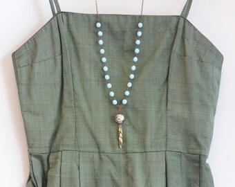 Leaf Tassel Necklace - Bohemian Necklace - Long Necklace - Strand Necklace - Boho Chic Jewelry - Brass Necklace - Tassel Pendant