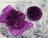 Purple Newborn Photo Prop Set, Plum Fairy Tutu Set, Baby Costume, Fairy Wings & Headband, Eggplant Purple
