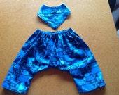 CUSTOM ORDER - Whale Print cotton Comfy pants and bandanna bib 6-12 months
