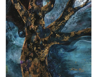 """Tree Abstract Painting, Giclee Archival Art print, Spiritual Nature from original painting """"Sweet Temptation"""" by Kathy Morton Stanion EBSQ"""