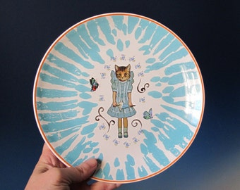 Turquoise and Orange Cat Girl with Butterfly Wings Plate