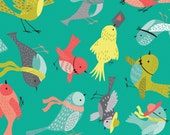 NEW from Camelot Fabrics, Its a Birds Life, BIRDIES in Turquoise by Heather Rosas, yard