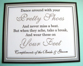 8x10 Flat Wedding Dance Around in Your Pretty Shoes Flip Flop Basket Paper Sign in Black and Metallic Silver - READY TO SHIP