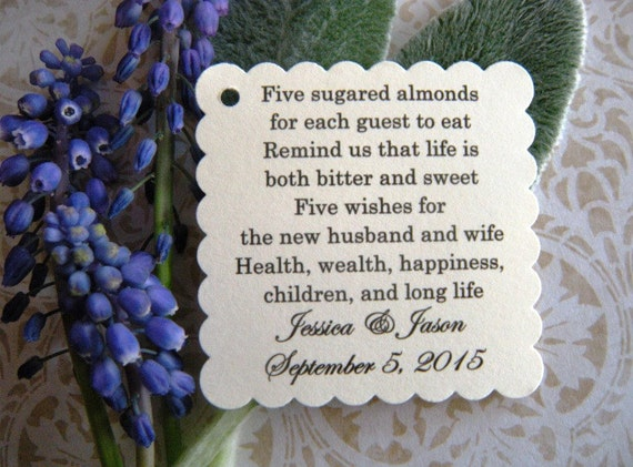 200 Custom Printed Jordan Almond Wedding Favor Tags On Cream Card Stock