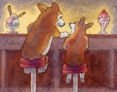 Welsh Corgi dog 8x10 art - secrets and sundaes ice cream bar stool friends knickerbocker glory dessert sweet