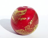 Handmade  Lampwork Glass Focal Bead Red gold leaf round