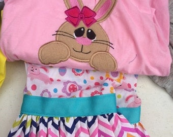 Custom easter bunny applique shirt and ruffle capris