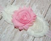 Pink and Ivory Shabby Chic Chiffon Rose Boutique Headband Newborn Baby Toddler