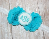 Monogram Chiffon Rose Baby Headband - Newborn Headband - Infant Headband - Toddler Headband - Photo Prop