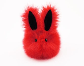 Easter Gift Kids Stuffed Animal Plush Toy Bunny Kawaii Plushie Zippy the Red Bunny Rabbit Snuggly Cuddly Faux Fur Toy Medium 5x8 Inches