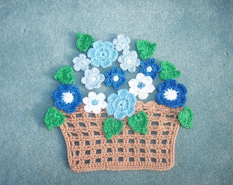 handmade crochet basket with red  flowers and  leaves --  417