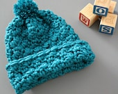Soft & Chunky Baby Toboggan Hat Saturated Teal Blue Winter Warm Crochet 1-3 Years