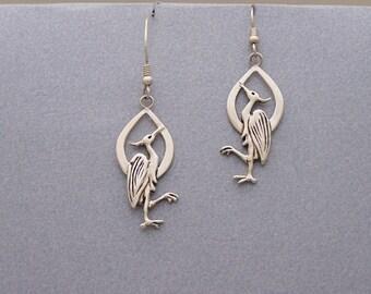 Beautiful Birds - Sterling Silver Heron Earrings