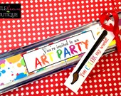 Printable Art Party Invitations, Stickers for paintbox invitations, DIY,  Digital File, Art labels, Art party, Children, Kids, Preschool