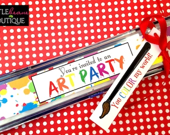 Printable paint Invitations, painting party, Stickers for paintbox invitations, DIY,  Digital File, Art labels, Art party