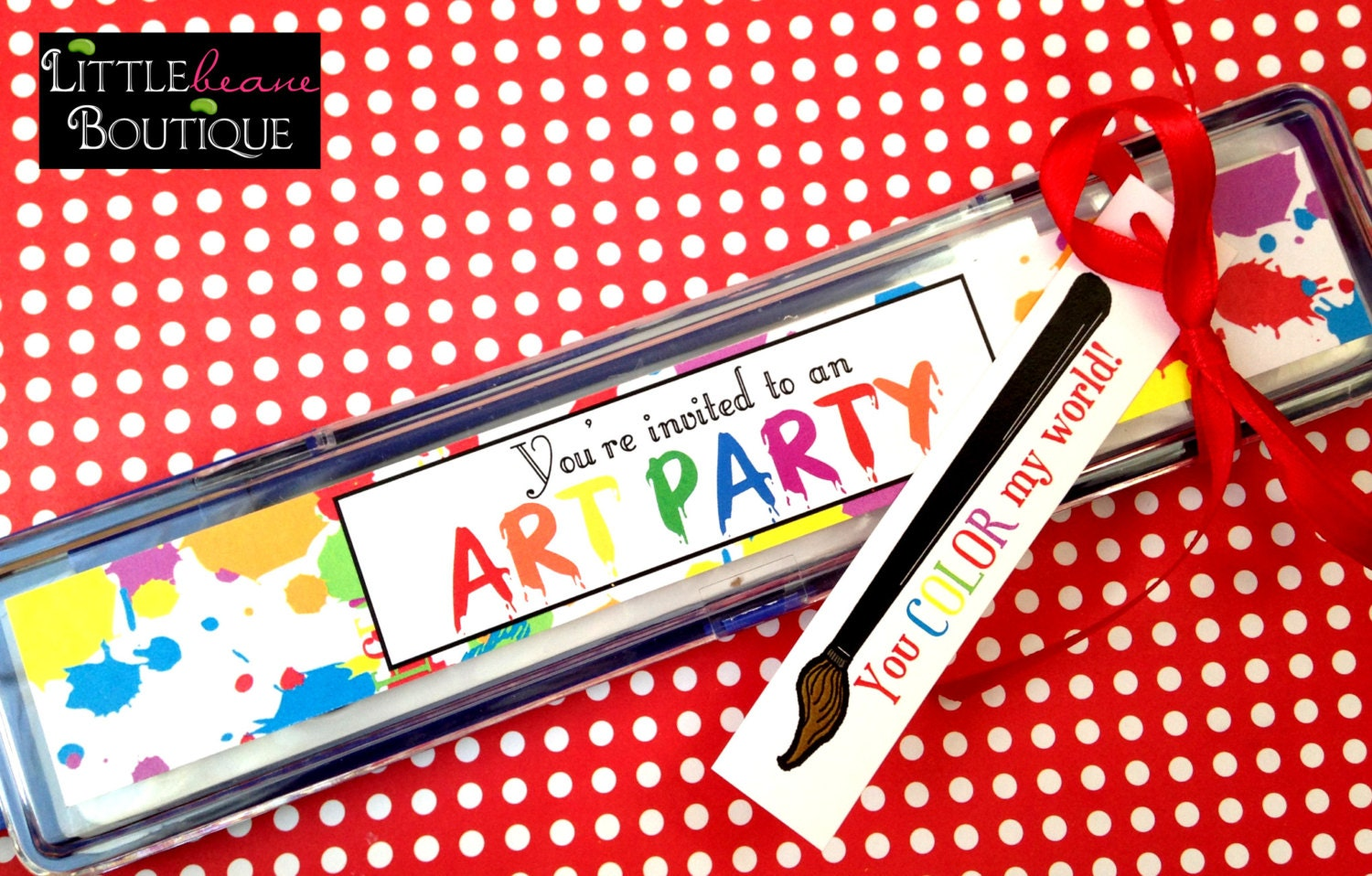 Printable Art Party Invitations Stickers for paintbox