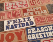 Letterpress CHRISTMAS CARDS assorted 12 different designs Happy Holidays Joy Peace