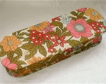 Vintage 60s Flowered Quilted Cotton Glove Box Vanity Storage Lingerie Drawer Organizer Box