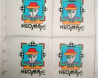 Hatted Man Vintage Peter Max Patch - Vintage 1988 Neo Max Cotton Screened Label -
